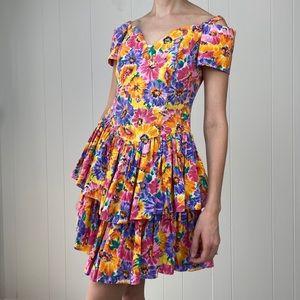 Vintage 90s Sweetheart Ruffle Floral Mini Dress S